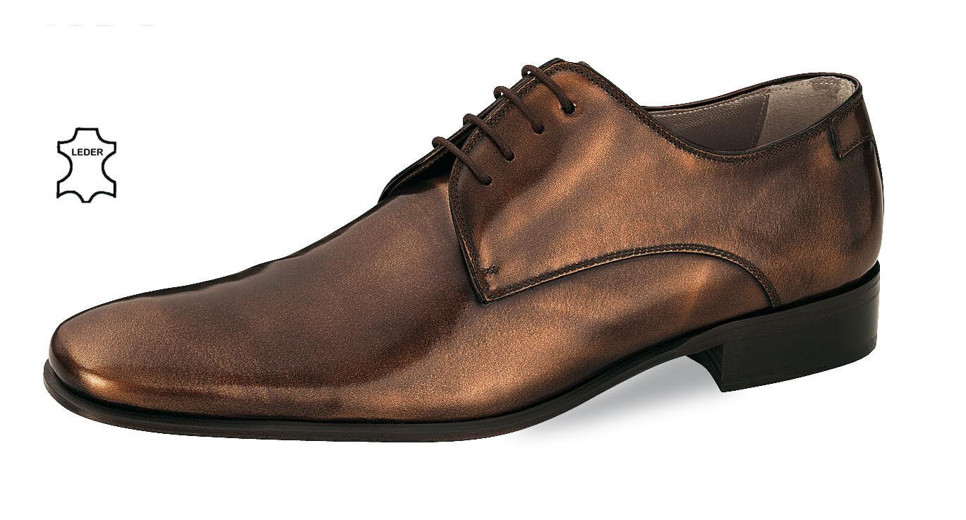 Herrenschuhe Übergrößen Braun Bronze Echtleder Elegante Fiarucci Anzugschuhe