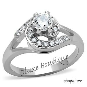 WOMEN-039-S-ROUND-CUT-AAA-CZ-SILVER-STAINLESS-STEEL-ENGAGEMENT-WEDDING-RING-SZ-5-10