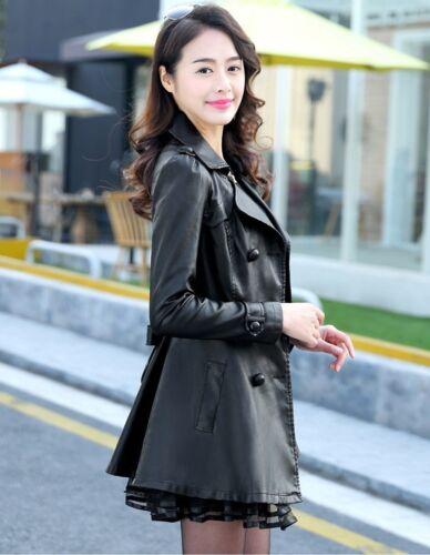 Faux Robe Ceinture Nouveau Veste Dentelle Coat Trench Slim Cuir Femmes La Plus En Taille Outwear axwZZq5f