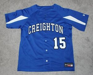 new arrivals d4672 94f71 Details about Creighton Blue Jays Baseball Jersey Youth Boys Large L Button  #15 Under Armour