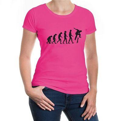 Damen Kurzarm Girlie T-shirt The Evolution Of Skate Funsport Skateboard Skaten Mit Den Modernsten GeräTen Und Techniken