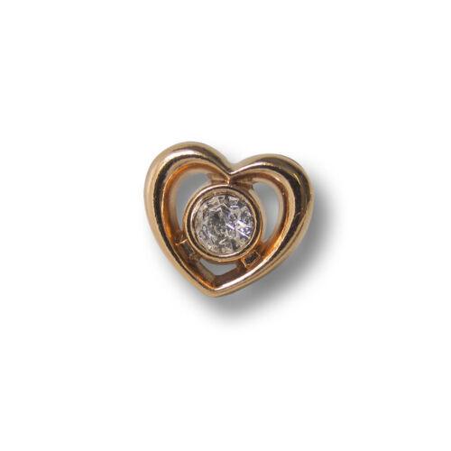 Metall Knöpfe in Herz Form mit Glas Stein 1243go-10x11 3 süße kleine goldfb