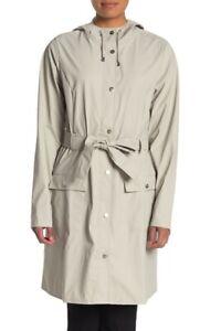 Rains Womens Sz M/L Curve Hooded Waterproof Rain Jacket Longline Belted Moon