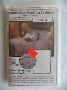 Cambridge-Marking-Systems-Hearts-Fabric-Template-Vintage-1991-Any-Size-Comforter