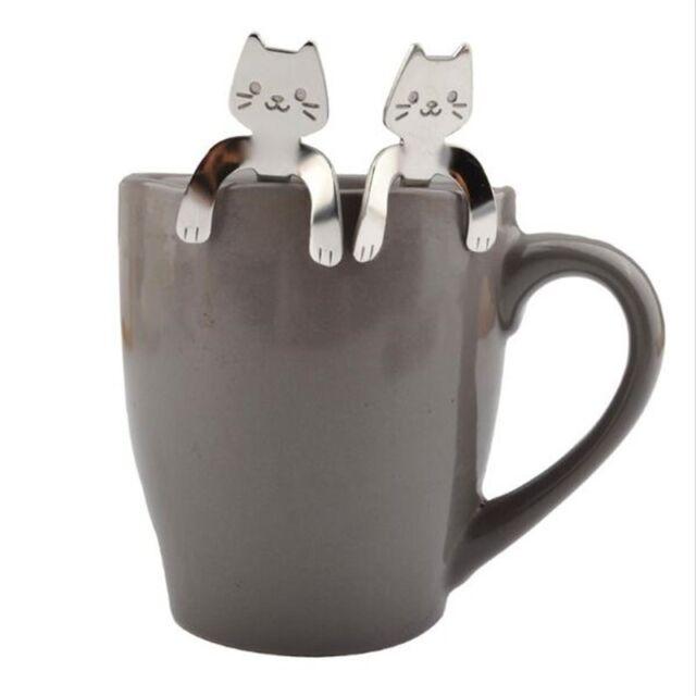 Stainless Steel Cute Cat Coffee Drink Spoon Tableware Kitchen Supplies  Hanging