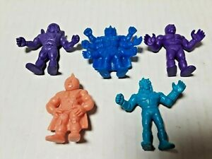 Vintage-1980-s-Mattel-Muscle-Men-Action-Figure-Lot-Of-5-Figures-Blue-Purple