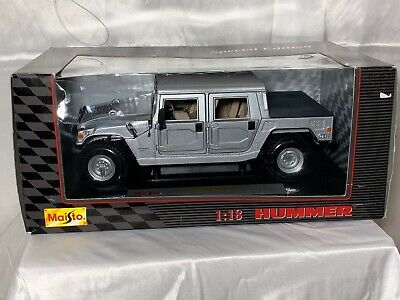 Nwb 1 18 Scale Die Cast Metal Silver Hummer Hard Top Model By Maisto Ebay