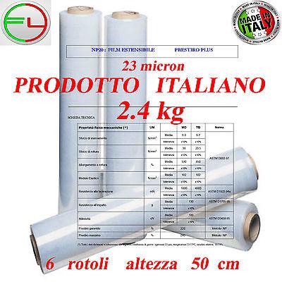 23 my KG 50CM 6 ROTOLI Film estensibile NERO manuale pellicola per imballaggio 1 k