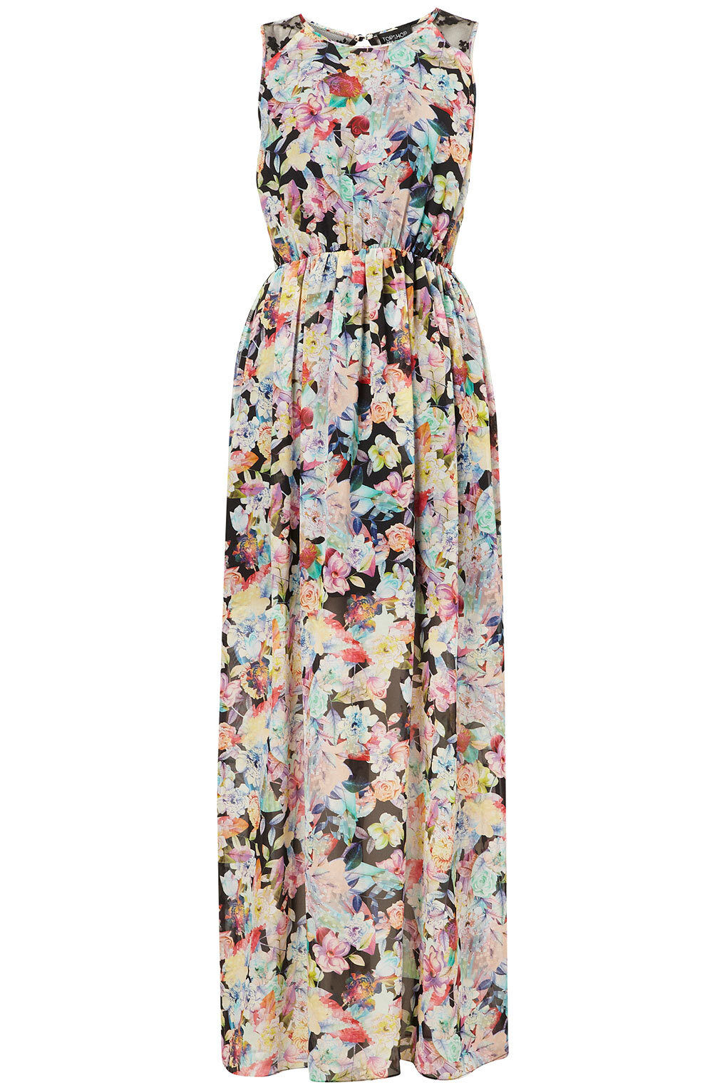 Topshop Floral Print Mesh Lace Maxi Dress Body con Tunic UK 8 EURO 36 US 4 BNWT