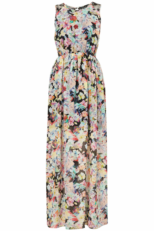 Topshop Floral Print Mesh Lace Maxi Dress Body con Tunic EURO 36 US 4 BNWT
