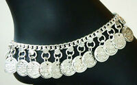India Boho Coin Hippie Silver Drop Anklet Belly Dance Handcrafted