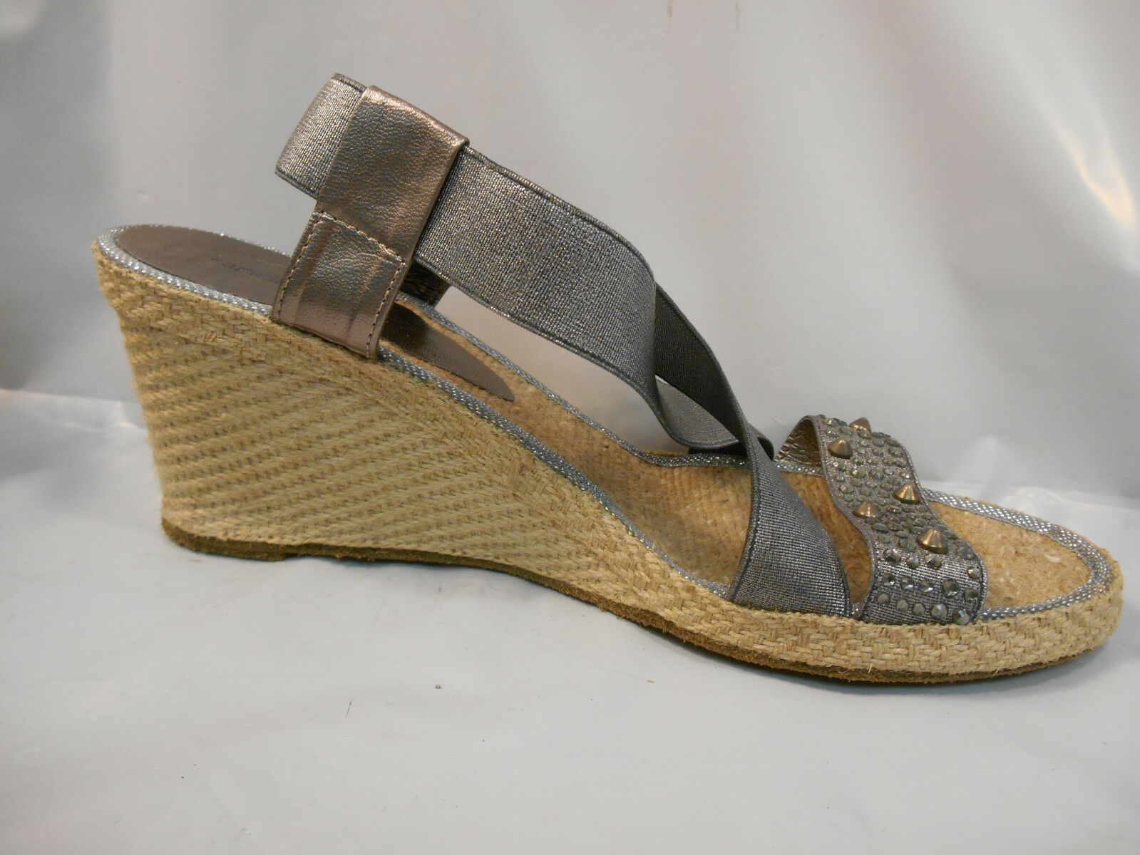 Andre Assous Pewter Silver Jewel Jewel Jewel Studded Espadrille Sandals Women's Size 9.5 M 7e7f35