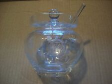 Vtg Hungary Glass Cut Crystal Honey Pot Jam Jar Condiment Sugar Dish Lid Spoon
