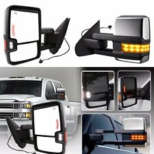 Towing Mirrors For Chevy GMC 07-14 Chrome Side Power Heated Led Signal Pair Set
