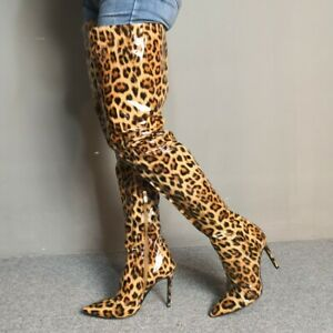 leopard high boots