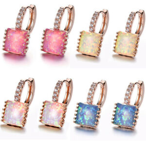 Newest-Square-Rainbow-Blue-Rose-White-Pink-Opal-Rose-Gold-Plated-Dangle-Earrings