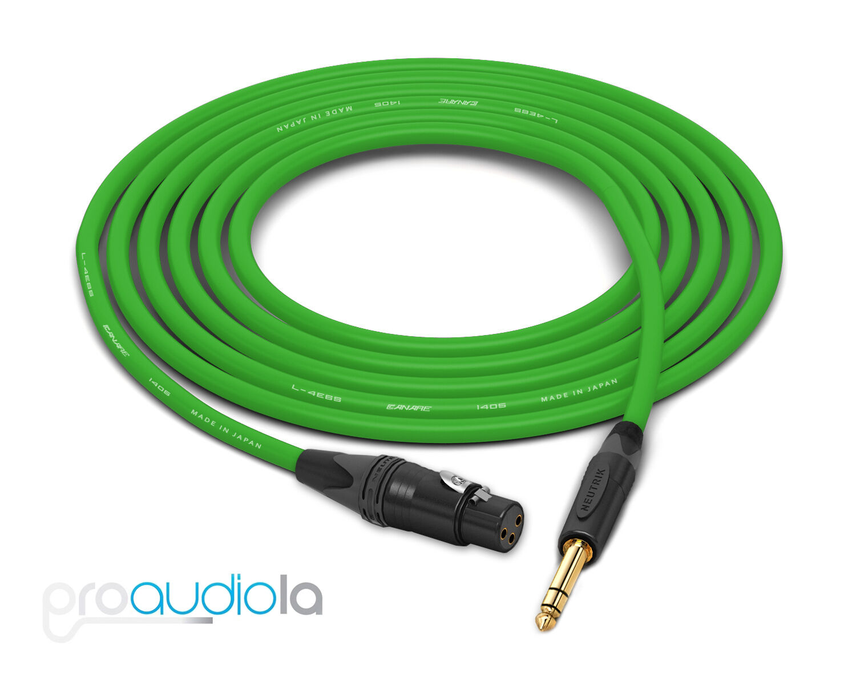 Canare Quad L-4E6S Cable   Neutrik Gold XLR-F TRS   Grün 275 Feet   275 Ft 275'