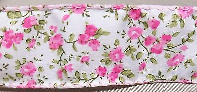 """5 yds SPRING FLORALS WIRE EDGE RIBBON 1 1/2"""" w (your choice of 4 colors)"""