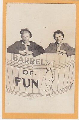 Real Photo Postcard RPPC - Two Men in Barrel of Fun w/og Cornell Studio Detroit