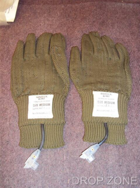 British Army Military Electric Heated Gloves E.H. 28 Volt 1970-80's