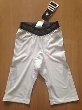 NUOVO Adidas Climacool Techfit preparazione Compressione Shorts taglia: XS Bianco Nero