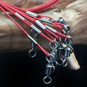 10x-50cm-pesca-Senuelos-De-Acero-Inoxidable-Lider-De-Alambre-Rastro-Pesca-Linea-150LB-BVF