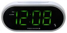 Precision Radio Controlled Digital Green LED Display White Alarm Clock PREC0047