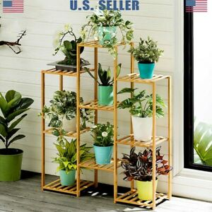 Multi-Tier-Bamboo-Plant-Stand-Planter-Rack-Flower-Pots-Holder-Display-Large-US
