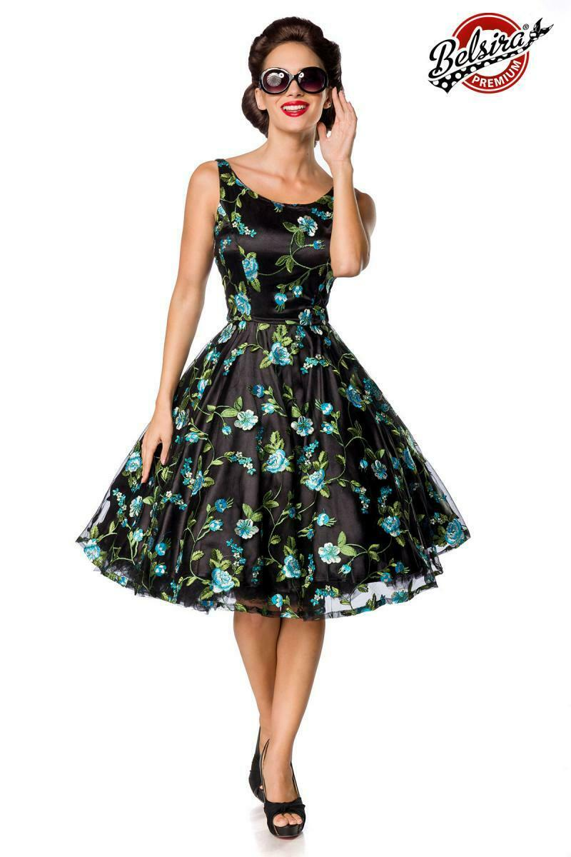 ATX 50176 50er Kleid Rockabilly Retro Vintage Premium Kleid schwarz blau Blaumen