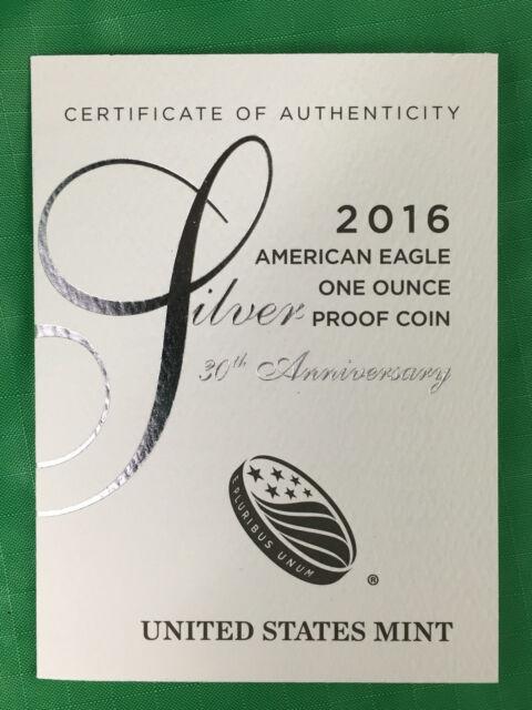 FIVE (5) 2016 W American Silver Eagle Proof COAs, 30th Anniversary, COAs Only