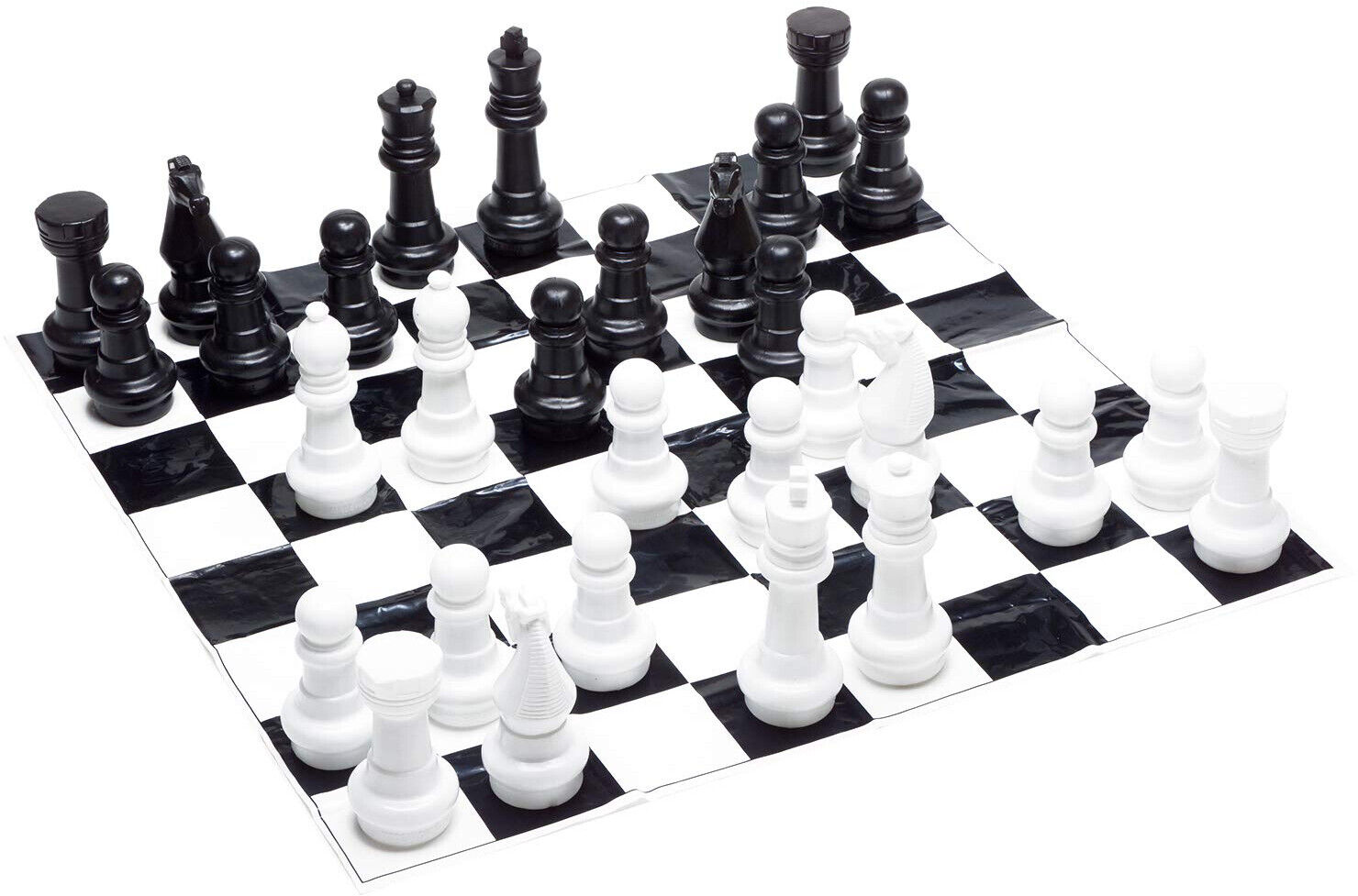 Giant Outdoor Chess Game Set Large Pieces 4 ft Mat Board Weatherproof Plastic