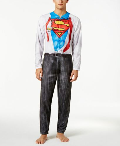 Men/'s Briefly Stated Superman Clark Kent One-Piece Union Suit Costume Pajamas