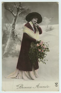 c 1910 Pretty Young Lady WINTER FASHION BEAUTY tinted photo postcard