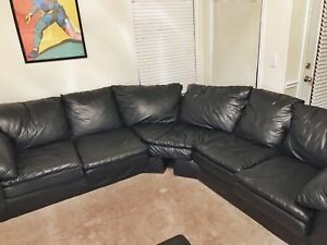 Image Is Loading Black Leather Sectional Couch Fits 6 People Comfortable