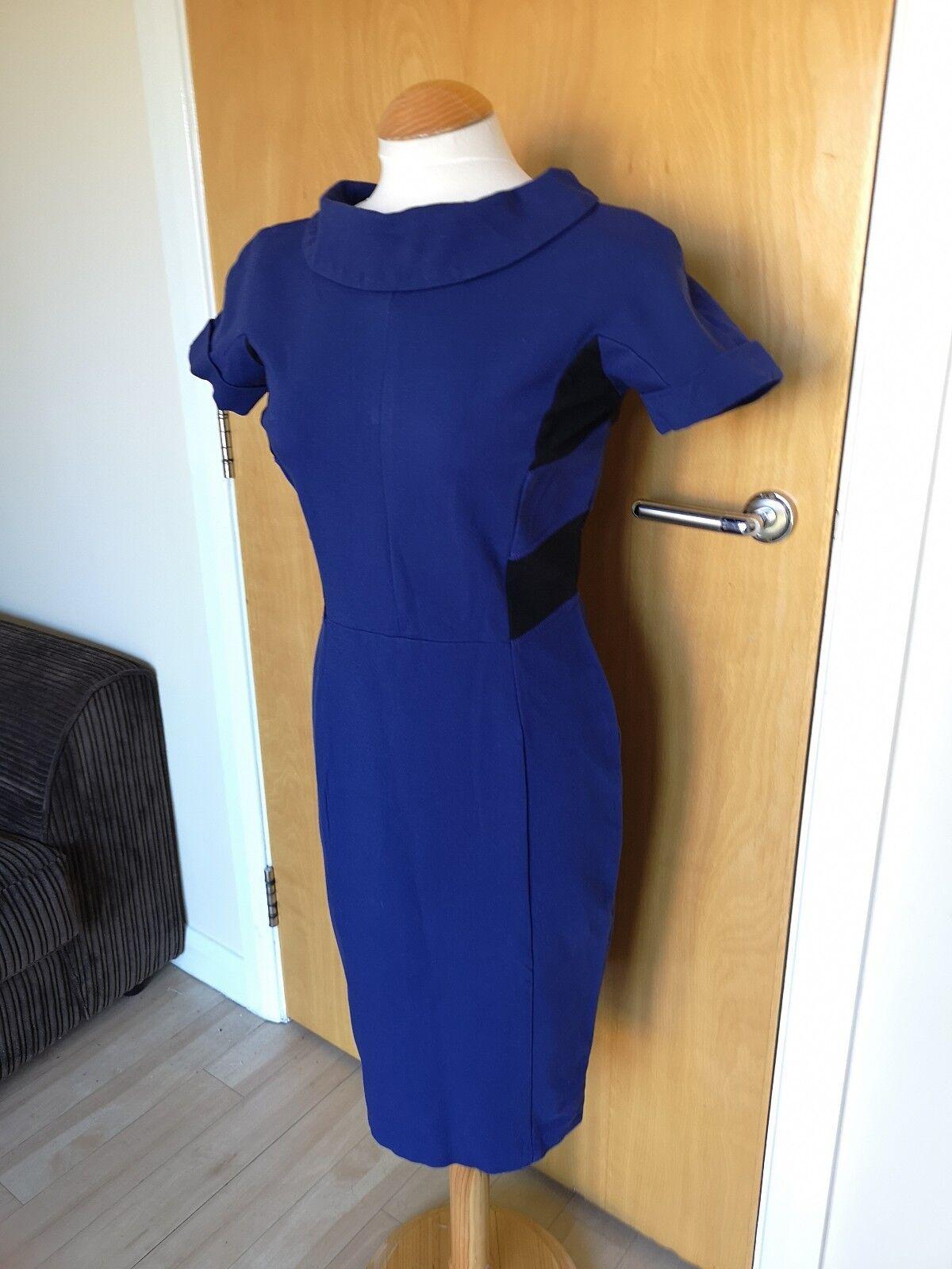 Ladies MARC CAIN Dress Größe N2 10 UK Blau schwarz Shift Wiggle Pencil Smart Office