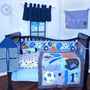 6 pieces Baby Boy crib bedding set Sports Foot ball sports ...