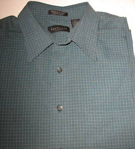 c4fcd91e458 Image is loading VAN-HEUSEN-GREEN-CHECK-SHORT-SLEEVE-SHIRT-L-