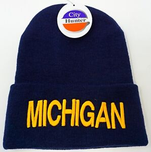 Image is loading MICHIGAN-Skull-Cap-Embroidered-Cuff-Beanie-Winter-Hat- 61ca043f1ce