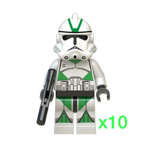 Lego Compatible NEW Star Wars Mini-figures 10x Green Clone troopers