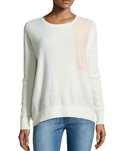 New Vince Luxuriously Soft 100 Cashmere Colorblock Ivory