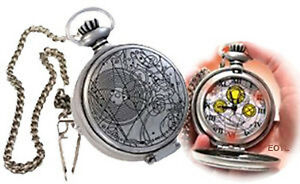 10th Dr Doctor Who Working MASTERS FOB POCKET WATCH - Metal Case Light-Up Dial