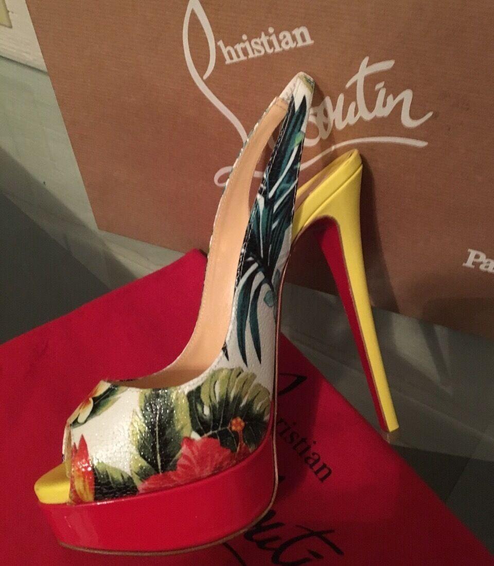 NIB Christian Louboutin LADY PEEPS Hawaiian  Print Slingback scarpe Heels Am sz 8  tutti i prodotti ottengono fino al 34% di sconto