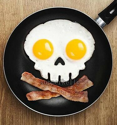 1X Fun Kitchen Tool Skull Shape Funny Side Up Egg Corral Pancake Fried Egg Mold