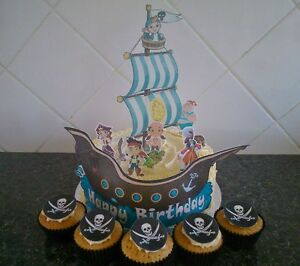 Edible Pirate Cake Decorations Pirate Ship Icing Toppers ...