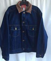 Vtg 90s Marlboro Country Store Jean Trucker Jacket Small Leather Collar