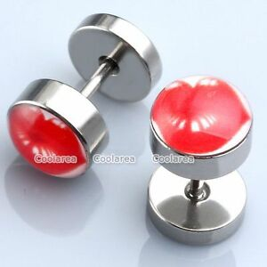 2x-Stainless-Steel-Red-Sexy-Lip-Print-Fake-Cheater-Ear-Stud-Plug-Earring-Look-0G
