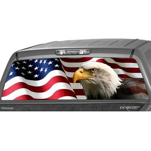 AMERICAN FLAG EAGLE Rear Window Graphic Perf Decal Tint Print - Rear window hunting decals for trucksrear window graphics deer ebay