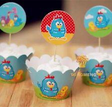 12x Galinha Pintadinha Cupcake Topper + 12 Wrapper. Party Supplies Lolly Bag