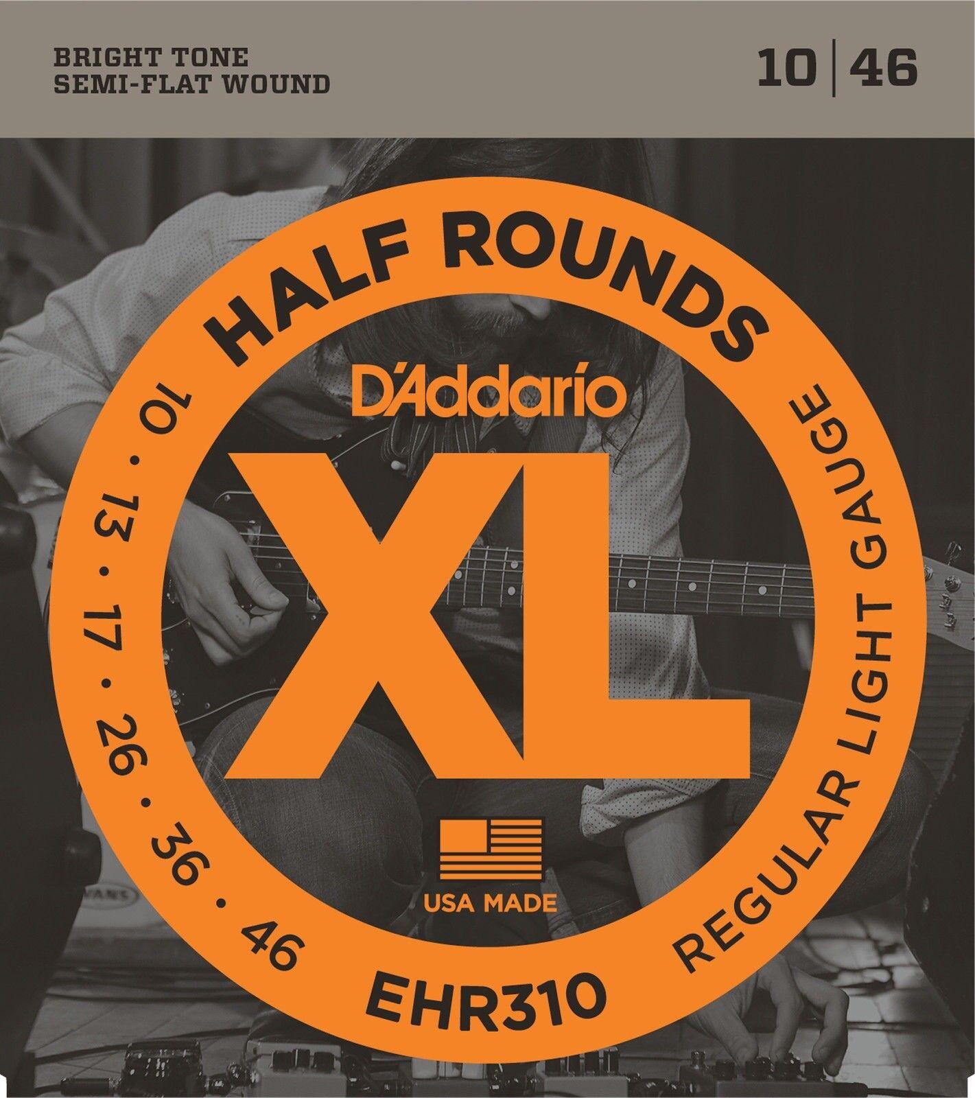 10 Sets D'Addario EHR310 HALF ROUND ROUND ROUND Electric Guitar Strings 10-46 Regular Light 030690