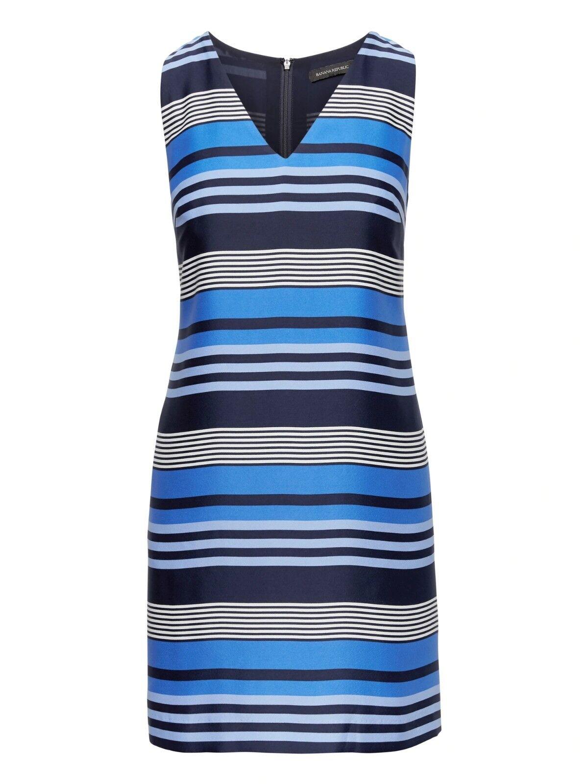 NWOT Banana Republic Stripe Shift Dress Blau Stripe Größe 8 T    E823